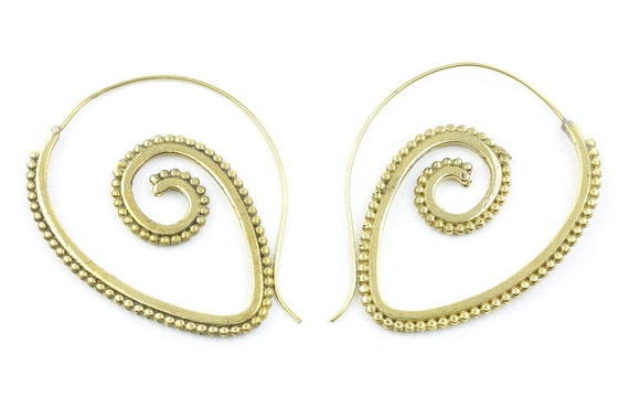 Spiral Brass Earrings, Tribal Brass Earrings, Festival Jewelry, Gypsy Earrings, Ethnic, Golden Spiral Earrings