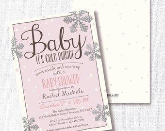 Baby It's Cold Outside Baby Shower Invitation, Printable, Girl Shower Invite, Pink and Silver, Winter, Silver Glitter, Snowflake