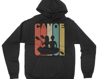 Retro 1970's Style Canoe Canoeing Hoodie
