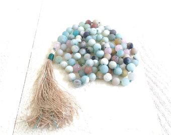 CALMING MALA BEADS - Amazonite and Rose Quartz Mala Necklace - 108 Bead Mala - Hand Knotted - Mala For Meditation Practice - Yoga Beads