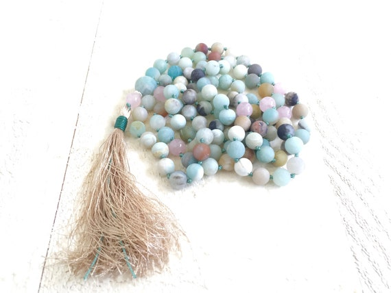 Amazonite Rose Quartz Mala Beads, Knotted Mala, Gemstone Mala, Meditation Necklace, Yoga Beads, Rose Quartz Mala, Prayer Beads