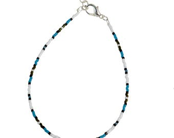 Beaded Delicate Anklet - Blue and White - Delicate Anklet - 9 to 10 Inches