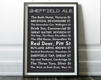 Sheffield Print, Wall Art Prints, Sheffield Poster, Sheffield Wall Art, Ale Print, Modern Sheffield Art, Wall Prints, Minimalist Print, Art