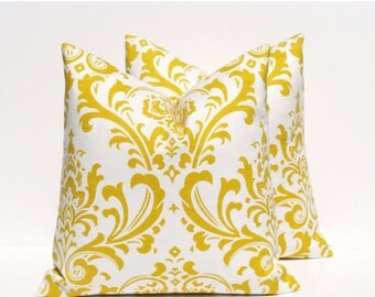 15% Off Sale Yellow Pillows.Decorative Yellow Pillows Throw Pillow Covers 18x18 Inches DamaskPrinted Fabric Both Sides Chevron Pillow. Yello