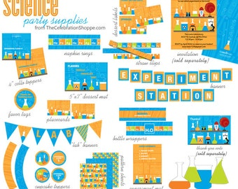 SCIENCE Birthday PRINTABLE PARTY Collection from The Celebration Shoppe