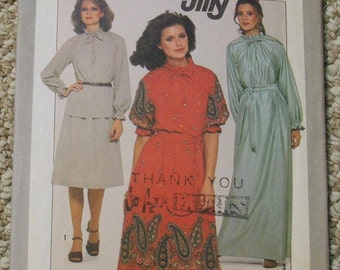 Simplicity 8309, JIFFY Blouse in two lengths and skirt, great neckline with ruffled stand up collar Sizes 6-8