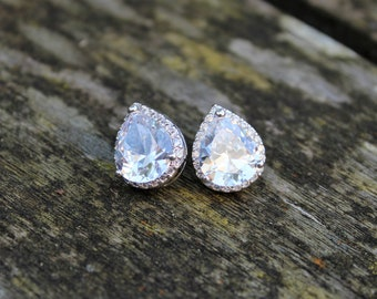 SALE Set of 6 Bridal Earrings SALE Set of 6 Bridesmaid Earrings teardrop cubic zirconia earring silver post wedding jewellery prom cz stud