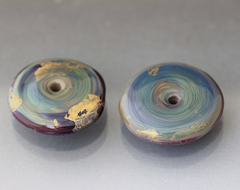 2 Large glass discs, Gray lampwork discs, 24k Gold discs, Teal disc beads, ready to ship rts Anne Londez, discs for sale