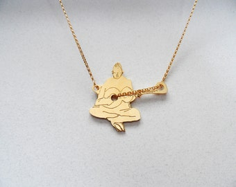 guitarist necklace, music jewelry, music necklace, guitar charm, guitar