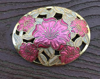 Vintage Jewelry Gorgeous Fish and Crown Enamel Cloisonné Pink Flowers in Oval Pin Brooch