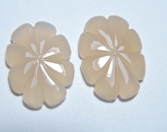 2 Pieces Extremely Beautiful Natural Pink Chalcedony Carved Flower Shaped Beads Size 30X22 MM
