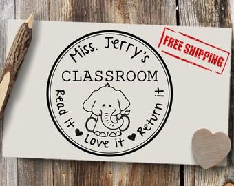 Elephant Teacher Stamp, Custom Book Stamp for Teacher, Custom Teacher Stamp, Gift for Teacher, Teacher Book Stamp,  #B89