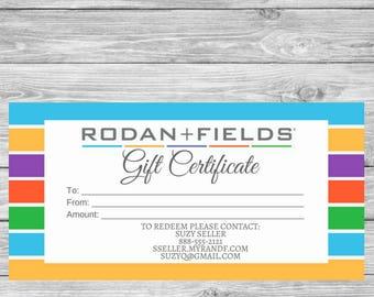 Rodan and Fields Gift Certificate - Check Style - Rodan + Fields