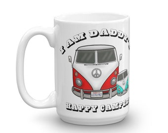 Daddy Baby Mug Father's Day Gift Pregnancy Announcement Gift for Expecting Dad VW Bus Mug Daddy's Happy Camper Mug VW Camper Van Hippie Bus