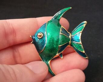 Vintage Green And Teal Enamel Angel Fish Brooch Pin