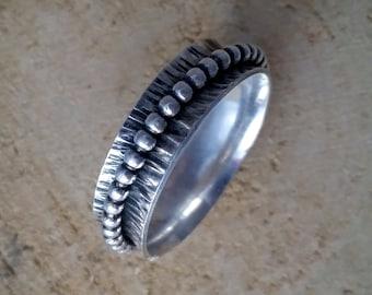 Silver fidget spinner ring, handmade - mm size