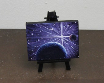 """Original Mini Painting - (3x4"""") Space Oil Painting on Easel"""