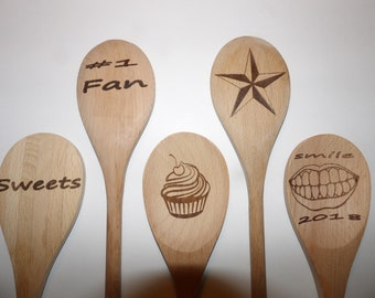 engraved wood spoon