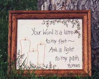 Primitive Stitchery Pattern - Thy Word is a Lamp  Instant Download #1546