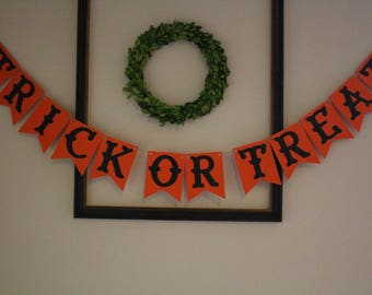 Trick Or Treat Hanging Banner / Orange and Black / Halloween Decorations / Fall or Autumn Decor / Wall or Mantle Decor / Party Decorations