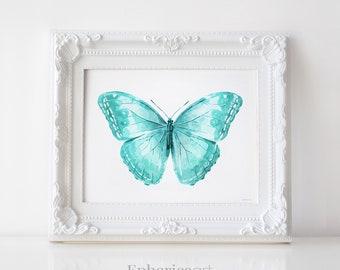 Turquoise Blue Butterfly art, Butterfly Print, Printable wall art print, Turquoise art print, Blue wall decor, Bedroom art, Digital DOWNLOAD