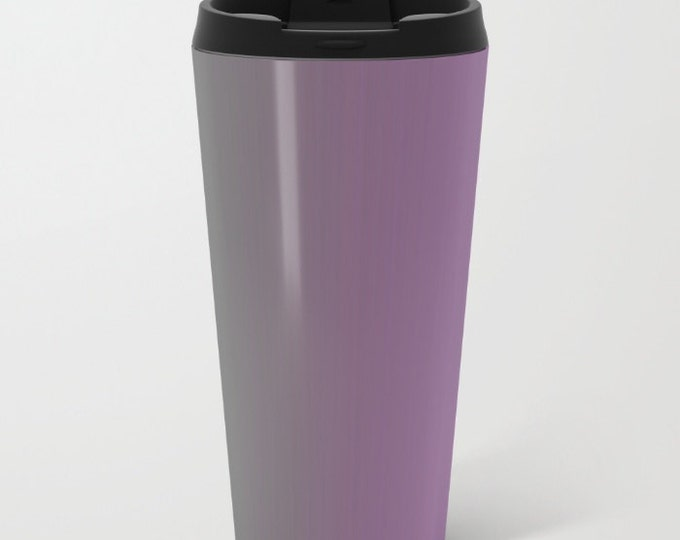 Purple Travel Mug Metal - Coffee Travel Mug - Gray to Purple Ombre -  Hot or Cold Travel Mug - 20oz Mug - Stainless Steel - Made to Order