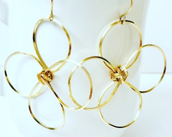 Statement Long Dangle Earrings, Flower Earrings, Dangle gold Earrings, Minimalist Earrings Gold Earrings, Dangle Earrings,