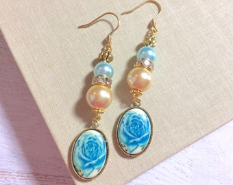 Blue Rose Cameo Earrings, Beaded Pearl and Rhinestone Earrings, Long Dangle Earrings, Vintage Assemblage Earrings