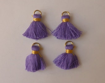 4 x Purple tassel charms 2cm - Tassel pendant - Tassel charms - Small tassels - Cotton tassels - Earrings Bracelet findings [MC046]