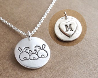 Personalized Small Rabbit Family Necklace, Mom Dad Baby, Two Moms, Rabbit Monogram, Fine Silver, Sterling Silver Chain, Made To Order