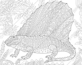 Dinosaur coloring | Etsy