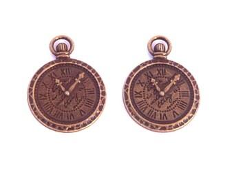 2 pendant charm 30mm brass bronze steampunk Pocket Watch clock