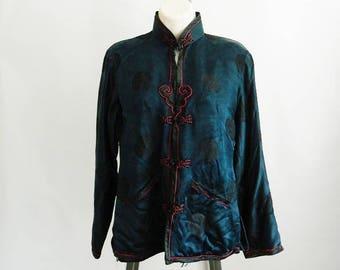 Vintage Chinese Silk Navy Blue Blouse Jacket, Brocade Embroidery, Toggles, Mandarin Collar, Small Medium, Chinoiserie
