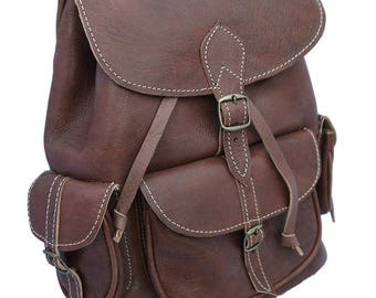 Handmade  Leather Backpack in brown