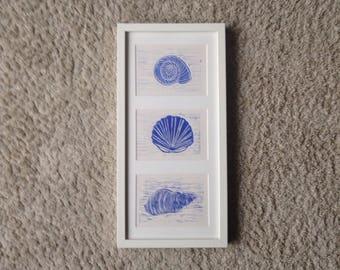 "framed ""sea shells"" linoleum print"