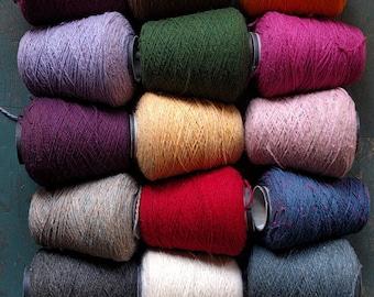 Yarn Cones - 10-15 oz bulk Peace Fleece worsted weight wool/ mohair knitting, weaving, crochet, rug hooking