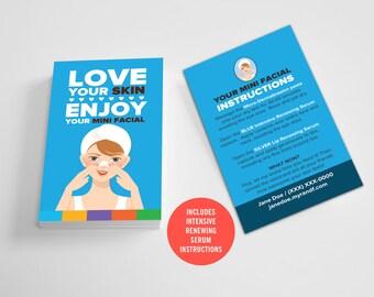 Rodan and Fields Mini Facial Cards  / Custom / Beautiful / Love Your Skin / Solid Colors / Instructions / Digital / DIY / Printable