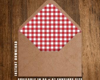 Printable Envelope Liner Red Tablecloth Envelope Liner Envelope Liners Red Envelope Liner Printable Envelope Liners 2 SIZES INSTANT DOWNLOAD