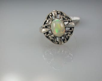 On Sale! Opal Sterling Silver Ring, Natural Ethiopian Opal, October Birthstone, Genuine Opal Ring