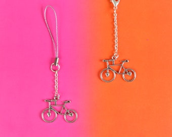 Silver Bicycle Planner Charm, Travelers Notebook Charm, Planner Clip, Bicycle Phone Charm, Stocking Filler, Stocking Stuffer