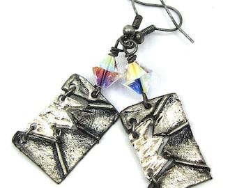 Crystal AB Swarovski Crystal and Silver Lightening Art Metal Earrings, Free US Shipping