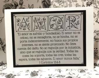 "Spanish Engagement / Marriage Greeting Card ~ ""El Amor es sufrido y bondadoso..."" Love / Amor Scripture ~ 1 Corinthians 13:4-8"