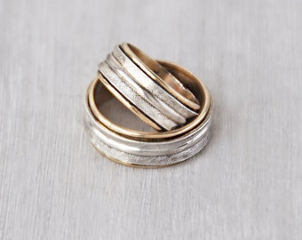 2 Vintage Wedding Band Rings - sterling silver 10k gold filled ESPO - men's women's stacking rings - Size 3.75 and 7.75