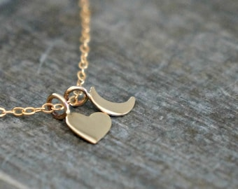 Gold Heart and Moon Necklace // Tiny Heart and Crescent Charm Necklace / Simple and Modern I love you to the Moon and Back Jewelry