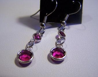Dangle Channel Earrings Swarovski Crystal Channels