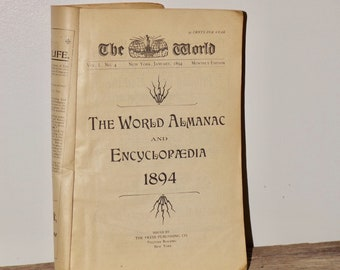 World Almanac Encyclopedia,1894,New York,Monthly edition,paperback,no cover,antique almanac,maps of NYC,reference book,uncovered book,