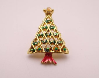 Small Vintage Green Enamel Christmas Tree Tie Tac Pin with Red Enamel Accent Ornaments Detail on Gold Tone Setting - Gift - Stocking Stuffer