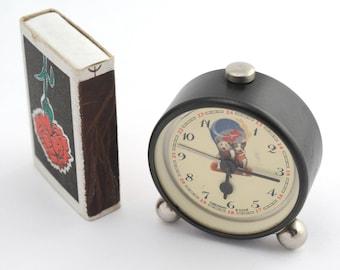RAKETA miniature ALARM CLOCK Soviet Russian Belka&Strelka space dogs