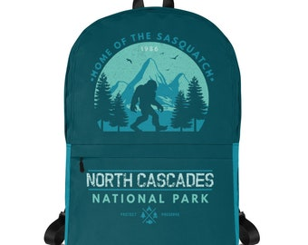 North Cascades National Park Backpack, Backpack Women, Camper, Laptop Backpack, Sasquatch, Bigfoot, Washington, Cascadia, Pacific Northwest