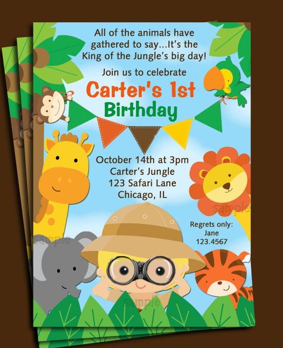 Animal themed birthday party invitations selol ink animal themed birthday party invitations stopboris Images
